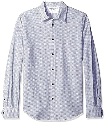Calvin Klein Jeans Men's Dobby Weave Mini Squares Long Sleeve Button Down Shirt