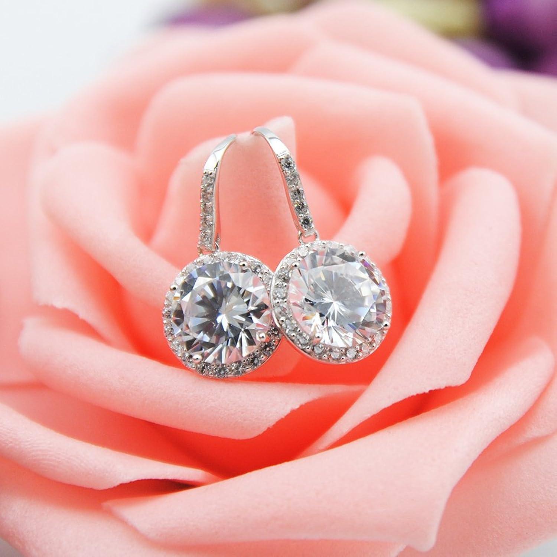 Amazon.com: Vilamon Women\'s Silver Clear Crystal Earrings Fashion ...