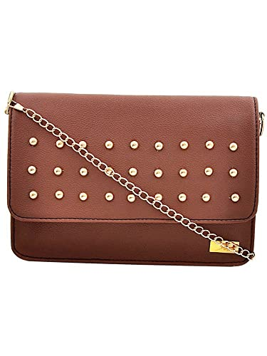 Yelloe Tan Synthetic Leather Sling Bag With Chain Strap and Studded Flap For  Women. Luxury Floral Lace Sequined Women Oblong Shoulder Bags ... 16151963a04bb