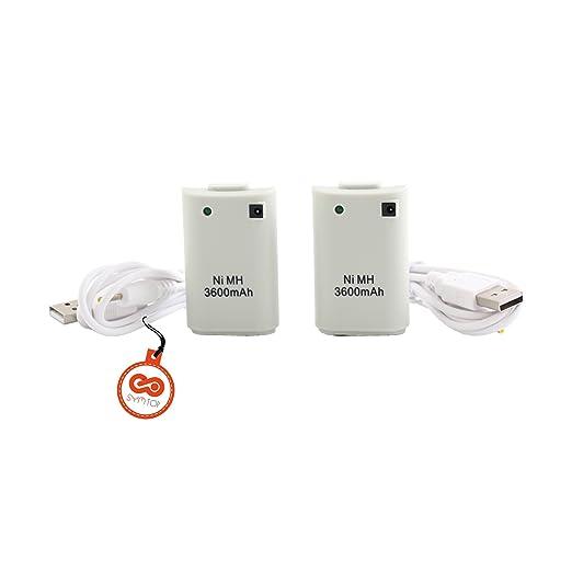 SYMTOP Batería Recargable para Xbox 360 Mando Remoto de ...