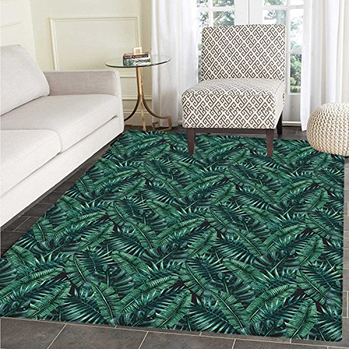 Palm Leaf Print Area Mat Watercolor Tropical Jungle Leaves Pattern Fresh Rainforest Hawaii Summer Perfect for Any Room, Floor Carpet 4'x6' Dark Green Black