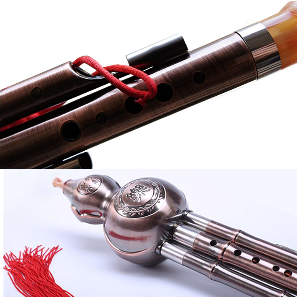 Chinese Gourd Cucurbit Flute Hulusi 3 Octaves C Key, Yunnan Musical Instrument Wind Flute for Child Kids Students, Oriental Ethnic Music Play Gift Toy with Exquisite Case by Huren Musical (Image #3)