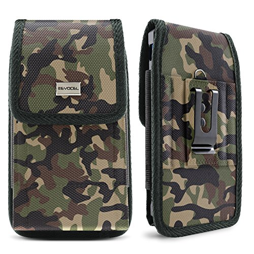 Evocel [Urban Pouch] Camouflage Tactical Carrier with [Belt Loop & Holster] (5.39 in x 2.79 in x 0.35 in) Fits Galaxy J3 Prime, Galaxy On5, LG Aristo, Apple iPhone 6 / 7 / 8, Moto E4, & More, Medium - Woodland Nylon Belt