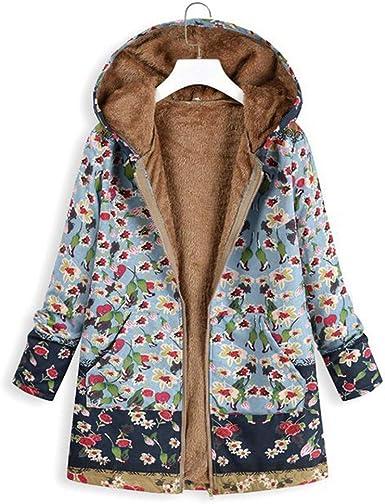 Reooly Abrigo de Gran tamaño Retro Chaqueta cálida de Invierno para Mujer Chaqueta de algodón con Bolsillo con Estampado Floral Top: Amazon.es: Ropa y accesorios
