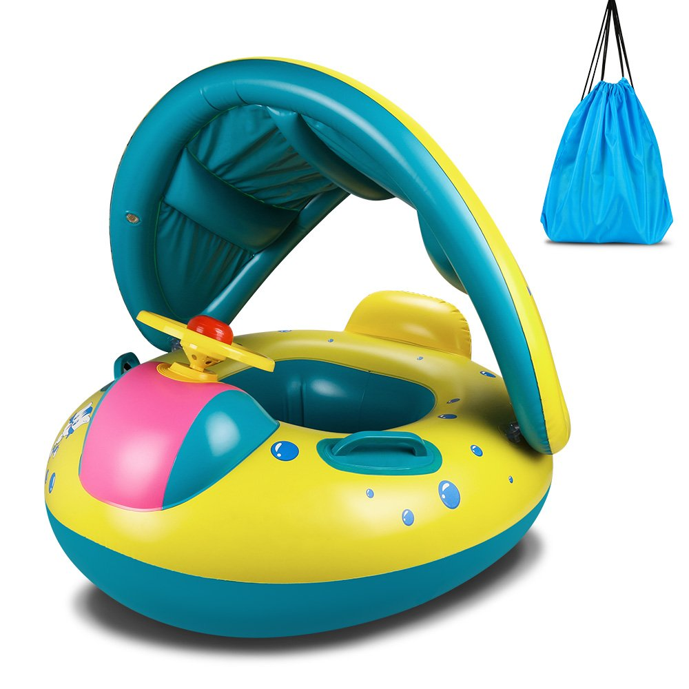 Topist Baby Pool Float, Baby Inflatable Swimming Ring with Adjustable Sun Shade Canopy Safety Seat for Age 6-36 Months Toddlers with Carry Bag
