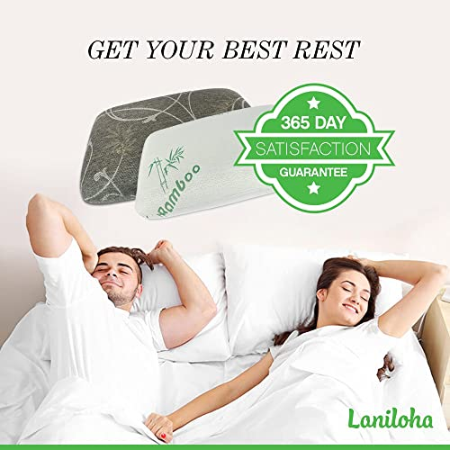 Best Pillow! Premium Orthopedic Charcoal Bamboo Comfortable Memory Foam Pillow (Queen Size) Sale By Laniloha