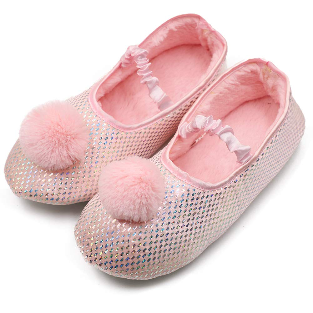 Kid Girls Comfy Winter Fuzzy Slippers Anti-Slip Mary Jane with Soft Memory Foam Rubber Sole Ballet Dress Shoes