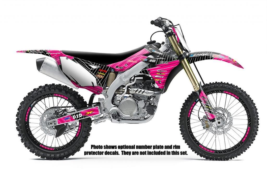 Race Series Pink Graphics Kit Senge Graphics kit compatible with Kawasaki 2002-2009 KLX 110