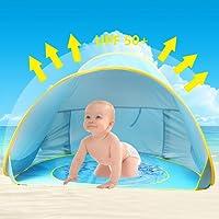 Baby Strandzelt,Oummit Pop-up Strandmuschel mit Strand Pool Automatik Strandmuschel mit Boden Sonnenschutz UV-Schutz 50+ Sehr Geeignet für Urlaub am Strand.