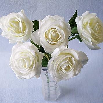 5 flores de sintéticas con tacto sedoso espuma de poliuretano, encoladas, para ramo de novia, decoración de boda o del hogar: Amazon.es: Hogar