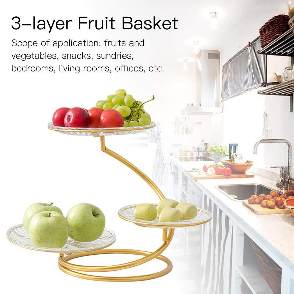 Présentoir moderne innovateur de plat de fruit de fer forgé à trois couches pour le salon