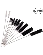 Upgraded Nylon Cleaning Brush Set of 12 for Bottle, Tube, Jar and Most Narrow Containers Include 2 Straw Cleaning Brushes