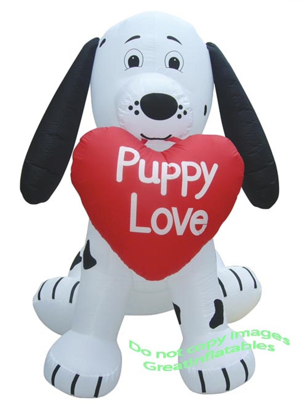 Gemmy Airblown Inflatable Valentine's Dalmatian Puppy Holding a Heart that says Puppy Love - Valentines Decoration, 7-foot Tall