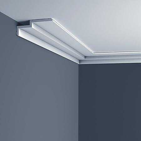 Cornice moulding Orac Decor C390 MODERN STEPS Moulding for indirect lighting Decorative moulding modern white 2m