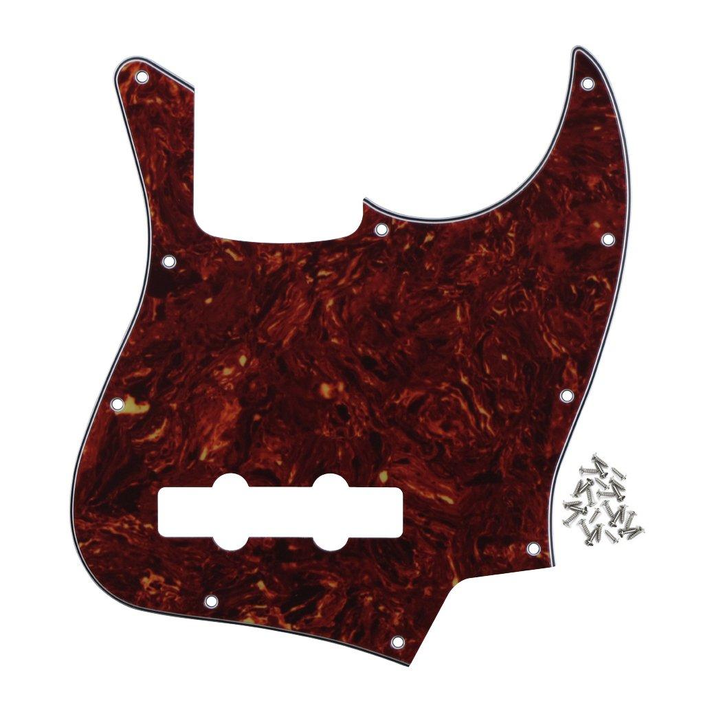 FLEOR 10 Hole J Bass Pickguard Scratch Plate Pick Guards with Screws for Fender Standard Jazz Bass Guitar Part,4Ply Red Tortoise
