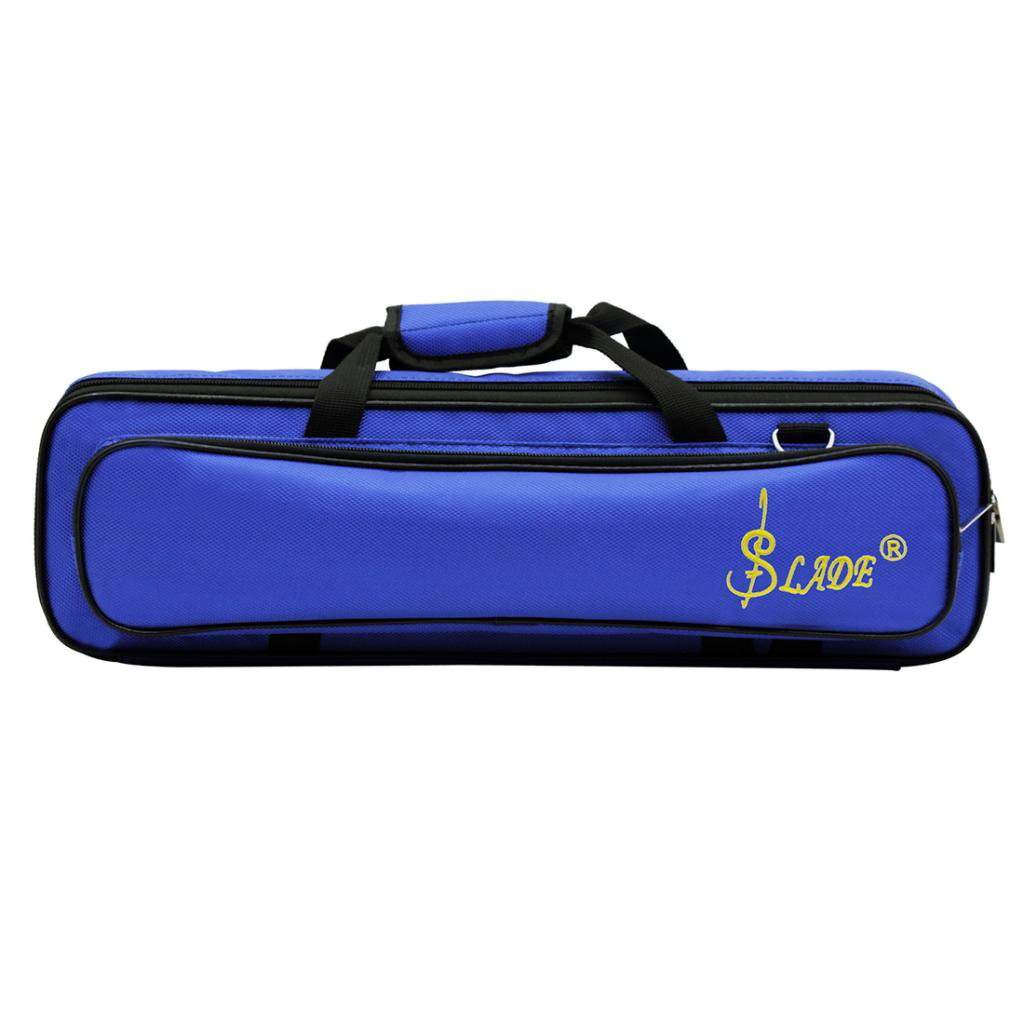 Baoblaze Soft Oxford Cloth Flute Case Cover/Bag Gig Prop w/ Side Pocket Handle Strap Deep Blue