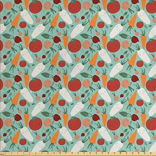 Lunarable Vegetable Fabric by The Yard, Healthy Vegetarian Dishes Concept Delicious Organic Carrot Tomato and Radish, Decorative Fabric for Upholstery and Home Accents, Multicolor ()