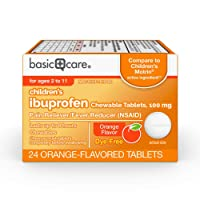 Amazon Basic Care Children's Ibuprofen Chewable Tablets, 100 mg, Orange-Flavored, Pain Reliever and Fever Reducer, 24 Count