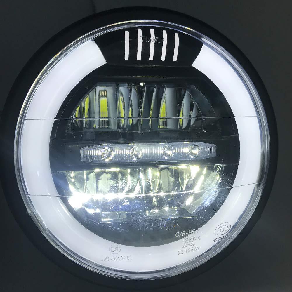 Nero 12V per Retro Cafe per Moto /& Streetfighter Project Moto LED 6.5  Faro