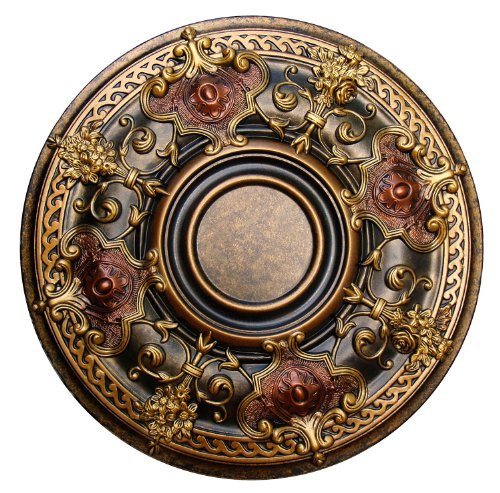 Fine Art Deco ''Shady Impression'' Hand Painted Ceiling Medallion 28-1/8 In. Finished in Bronze, Gold and Copper by Fine Art Deco