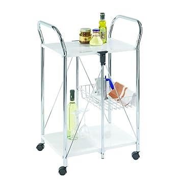 Wenko Sunny Carro de Cocina Plegable, Metal Recubrimiento de Polvo, Blanco, 44x56.5x90.5 cm: Amazon.es: Hogar