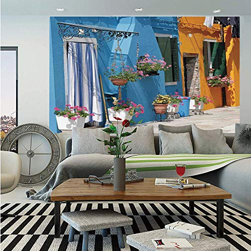 Tuscan Removable Wall Mural,Retro Tuscan House with Brick Road Flower Pots Outside Sovana Tuscany View,Self-Adhesive Large Wallpaper for Home Decor 66x96 inches,Marigold Light Blue