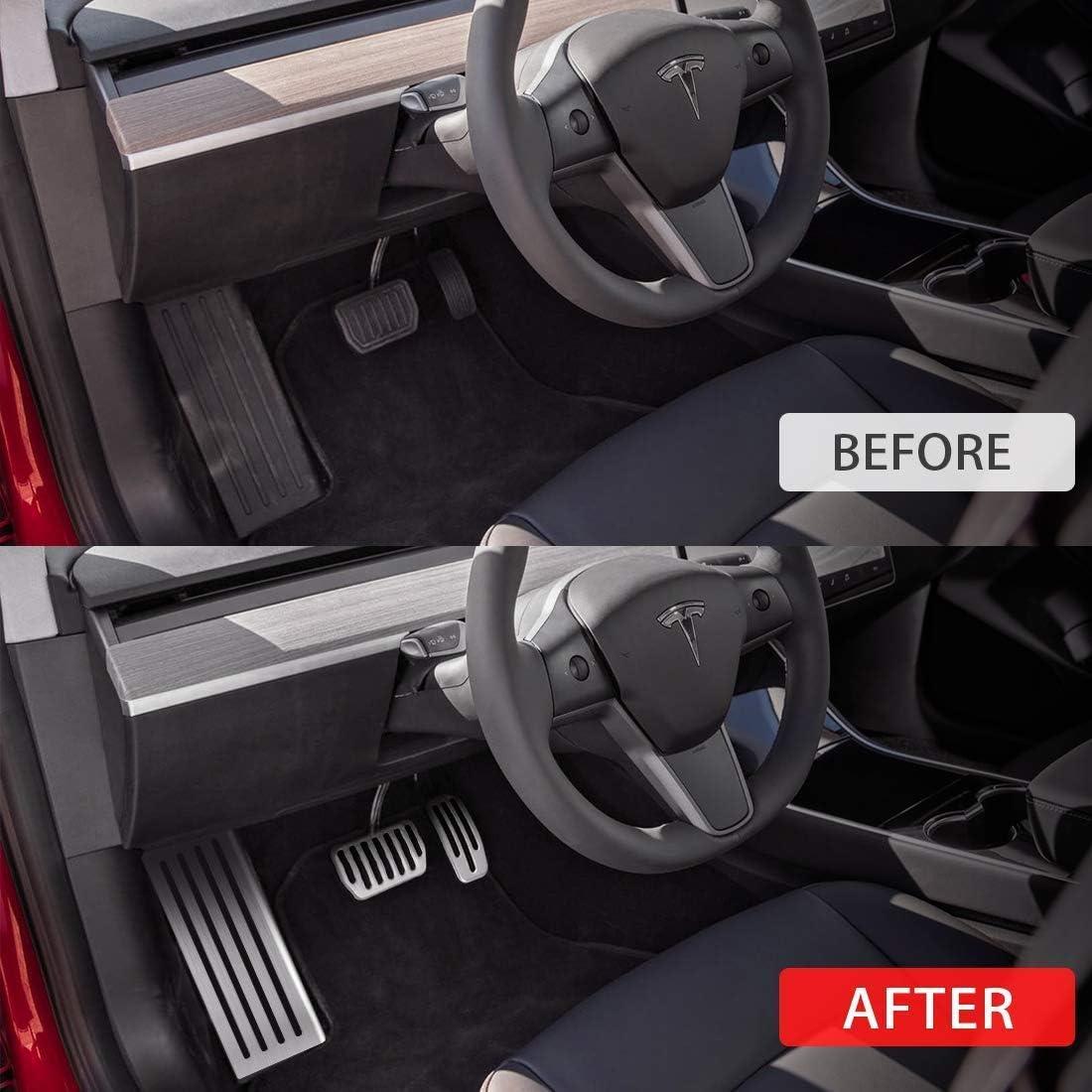 acceleratore e Freno a Pedale e Resto del Piede dei rilievi del Pedale per Tesla Model 3 LAUTO Anti-Slip pedaliera in Alluminio coperture