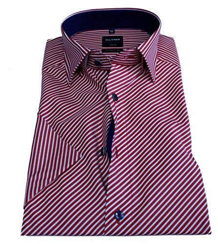 Olymp Hemd Luxor, Halbarm, modern fit, rotweiß gestreift Gr. 40