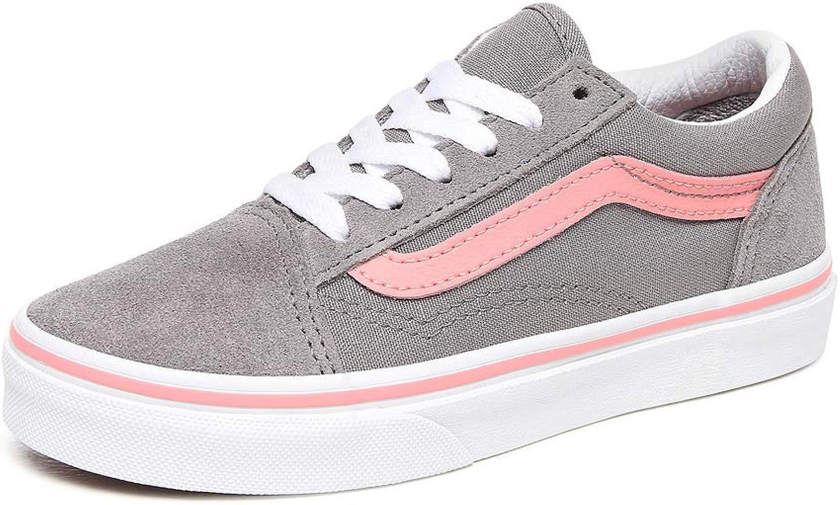 Vans Old Skool Trainers Girls Grey/Pink