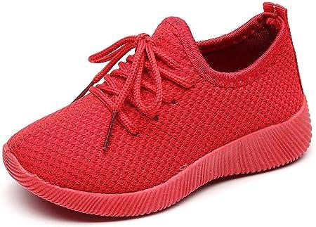 YWLINK Antideslizante Fondo Blando CóModo Zapatillas De Deporte Casuales De Los NiñOs Y Las NiñAs De Malla De Encaje De Color SóLido Zapatillas Rojo Negro 26-35