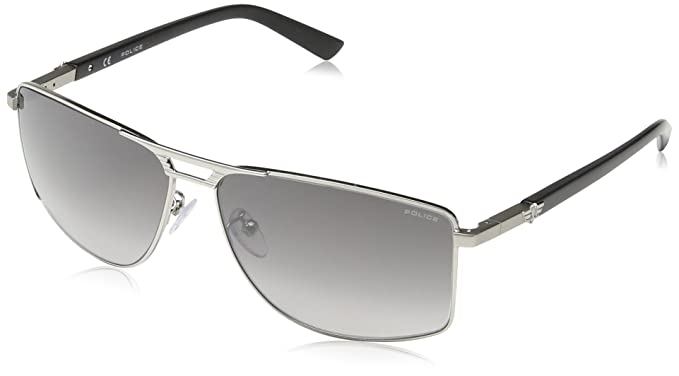 Police Gafas de sol Rectangulares S8848 Flash 1, SHINY PALLADIUM WITH MATT PARTS FRAME/