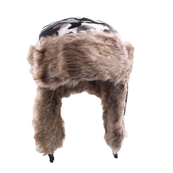 Sombrero de invierno Unisexo Sombrero Ajustable Ruso de Esqui Orejeras de  Peluche Tapa Acolchada Plana para Mujer y Hombre Holatee  Amazon.es  Ropa y  ... 567f33b83ee