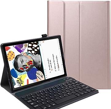 RLTech Funda Teclado Español Ñ para Samsung Galaxy Tab S6 Lite, Español Slim Teclado Keyboard Case con Magnético Desmontable Inalámbrico Bluetooth ...