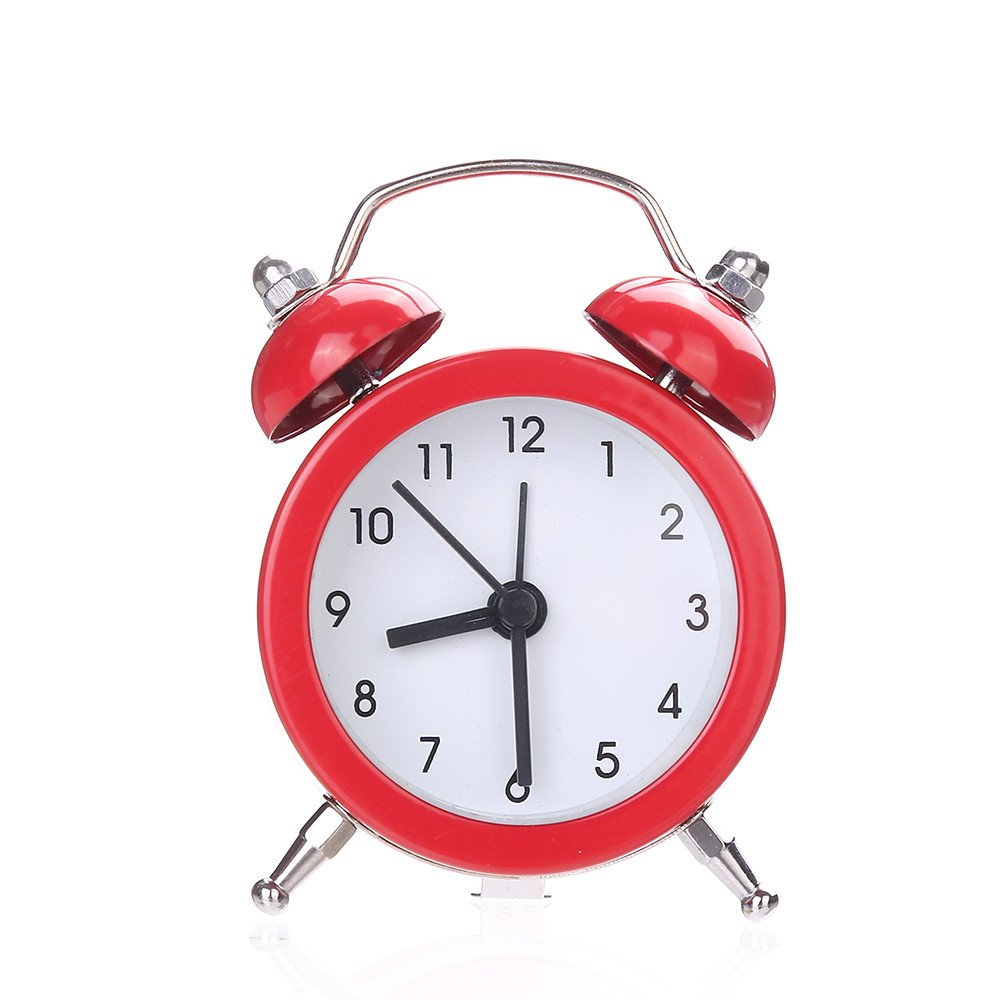 Hotsellhome New Cute Portable Twin Bell Silent Alloy Stainless Metal Alarm Clock, Analogue Clock, Children Time Teacher, Office Home Decoration, Perfect for Living Room, Bedroom and Kitchen (Yellow) Hotsellhome New Fashion
