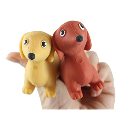 2 Stretchy Weiner Dog Crushed Bead Sand Filled - Doggy Lover Sensory Fidget Toy Weighted (Random Colors): Industrial & Scientific