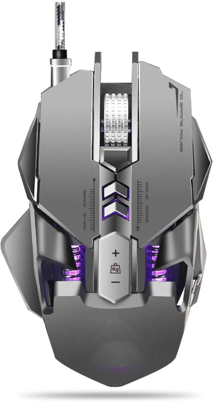 3200 Dpi,for Windows 7//8//10//2000//Xp Vista Linux Gaming Mouse Gray ZeroDate Ergonomic Wired Gaming Mice with RGB Circular and Breathing Light