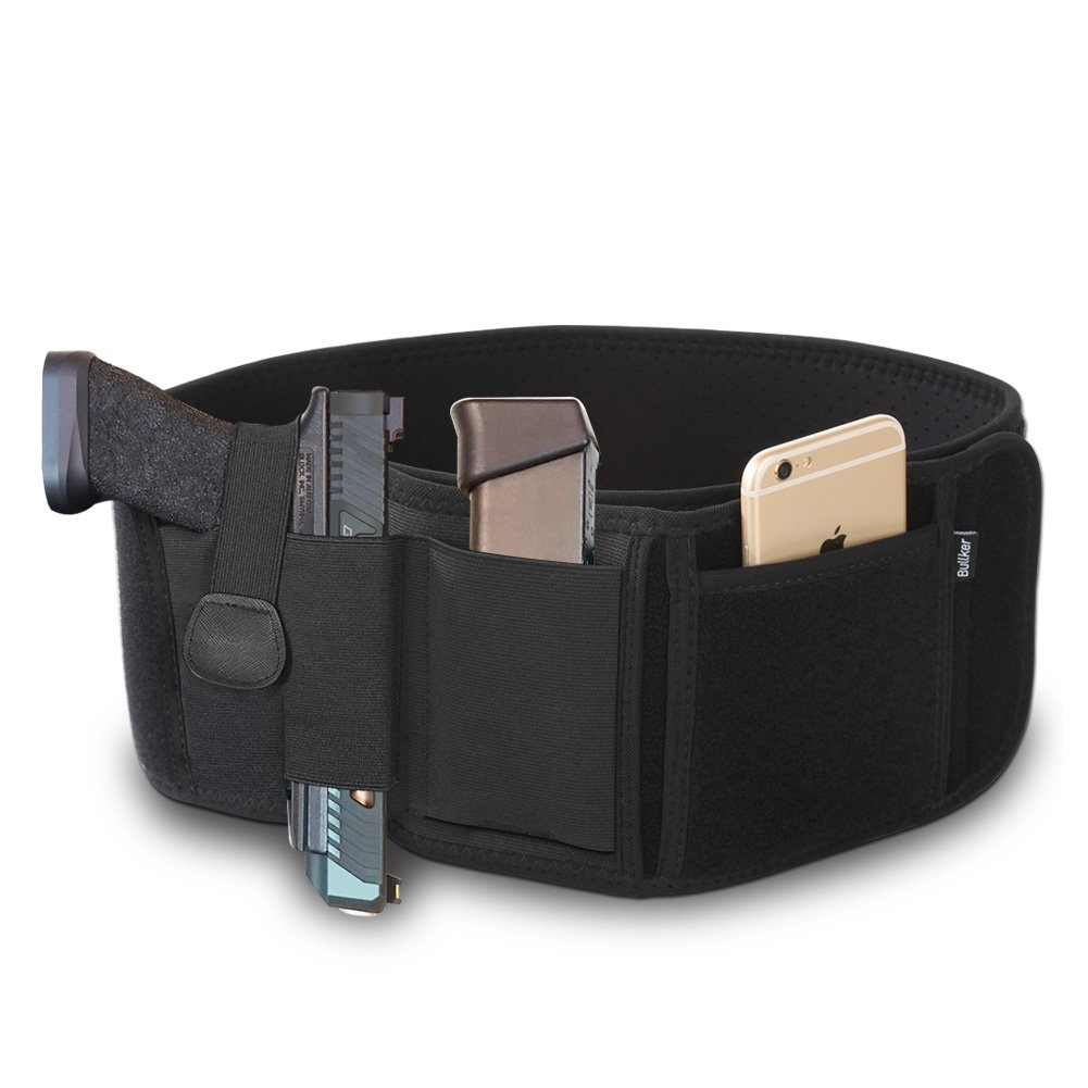 Bullker Gun Holster, Belly Band Holster for Concealed Carry - Neoprene Waist Band Handgun Carrying System - with Elastic Holder for Pistols Revolvers - for Men and Women