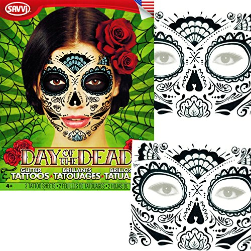 Sugar Skull Temporary Tattoos Costume Kit (Set of