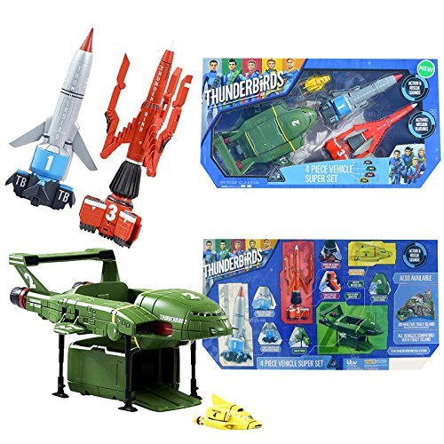 New Thunderbirds Are Go Official 4 Piece Vehicle Super Set Action Figures With Sound by HTS