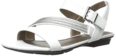 LifeStride Women's Enchant Flat Sandal, White, ...