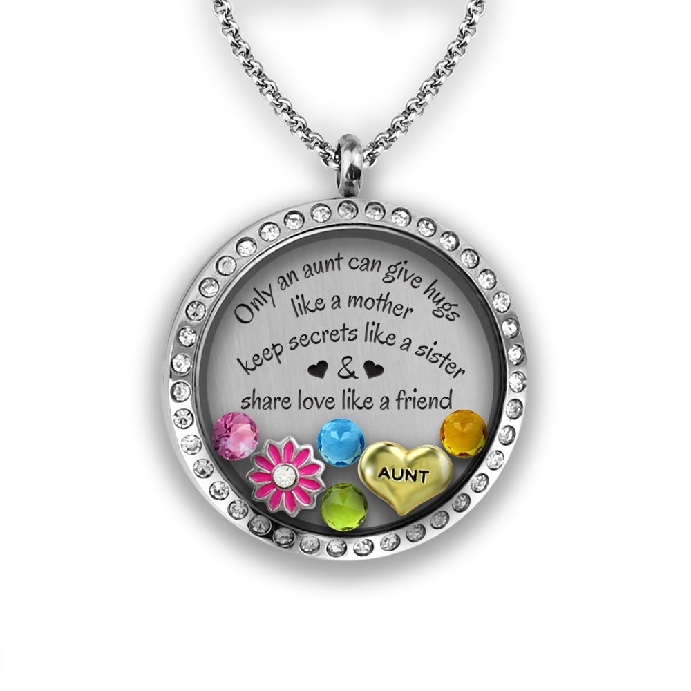 A Touch of Dazzle Best Aunt Ever Aunt Gift from Niece | I Love My Aunt Charm Necklace | Stainless Steel and Glass 30mm Authentic Floating Charm Locket for The Best Auntie | Aunt Jewelry Aunt Necklace