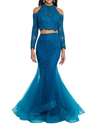 WDH Dress Trendy 2018 Two Pieces Prom Dress Long Sleeves Mermaid Evening Dress 16