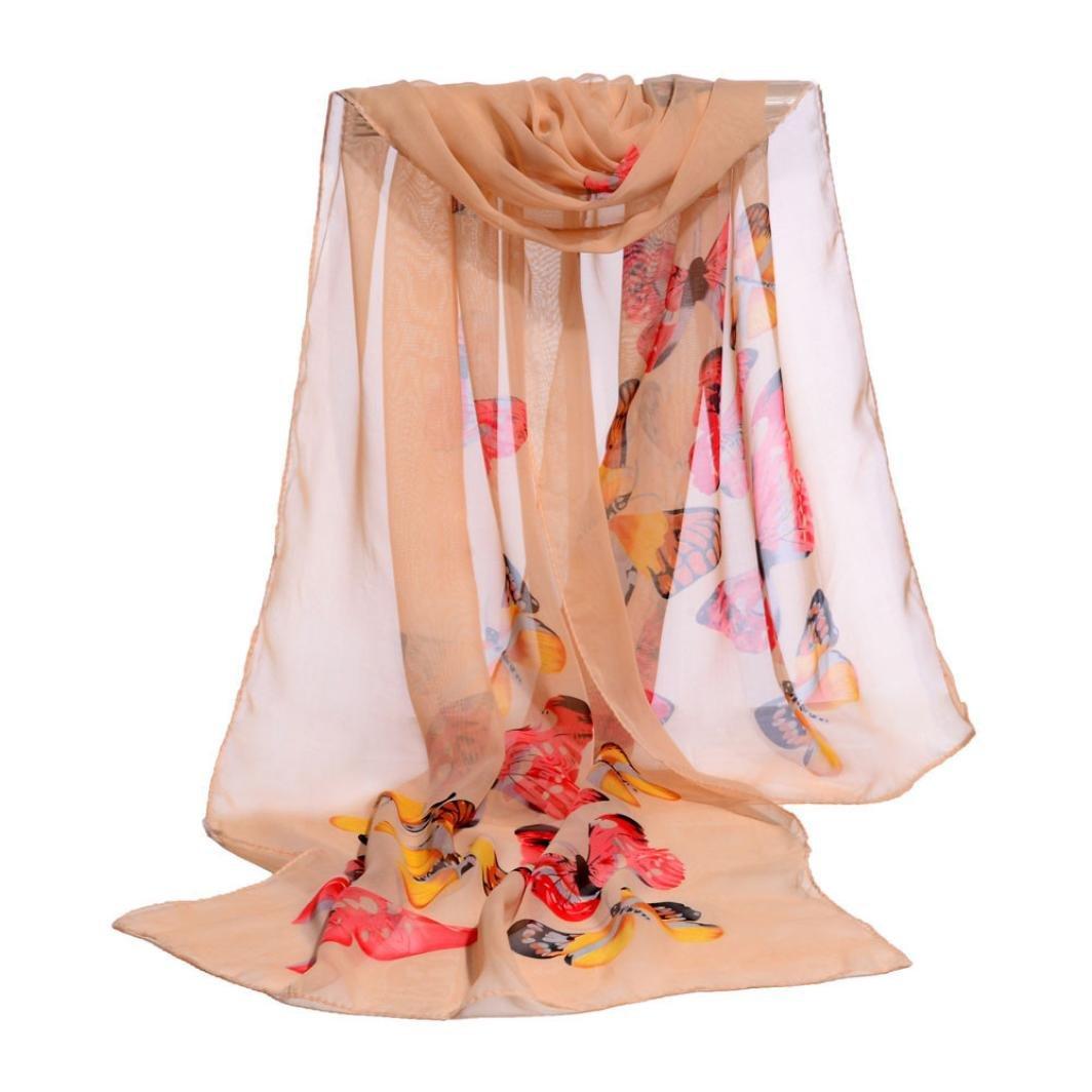 Womens Butterfly Print Chiffon Scarf Soft Wrap Shawl Stole Scarves (Orange)