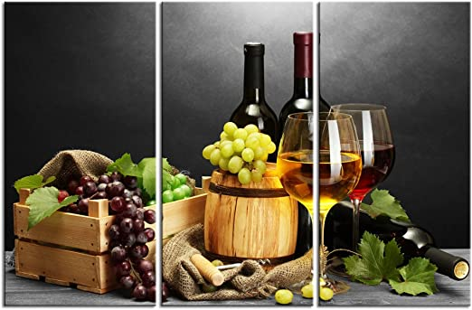 Framed Grape Red Wine Wall Art Still Life Pictures Print On Canvas Food Picture