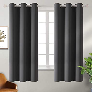 BGment Blackout Curtains - Grommet Thermal Insulated Room Darkening Bedroom and Living Room Curtain, Set of 2 Panels (42 x 63 Inch, Dark Grey)