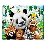 Zoo Animals Selfie Fleece Throw Blanket