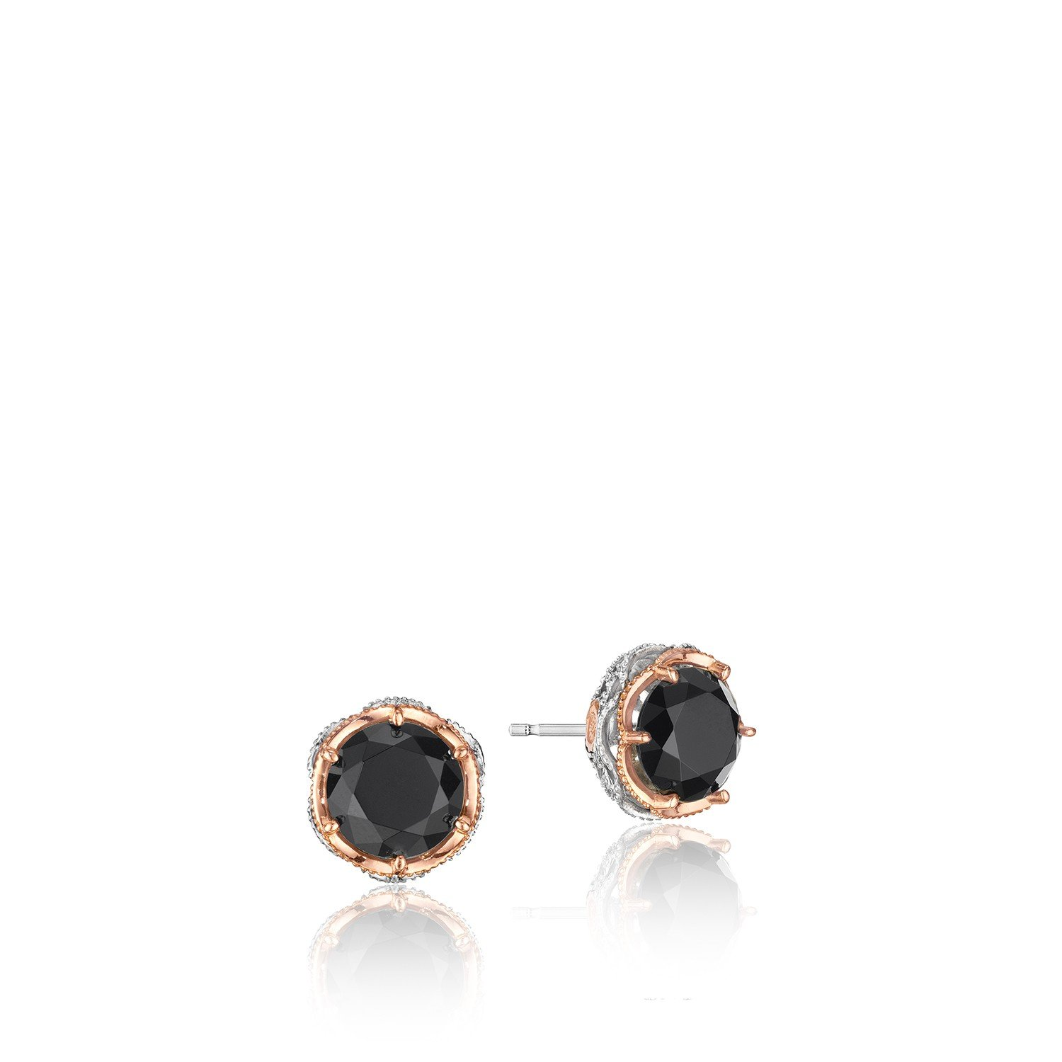 Tacori SE105P19 Classic Rock Sterling Silver With 18K Rose Gold Crescent Crown Stud Earrings