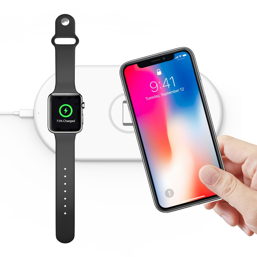 wholesale dealer 77461 b19f8 Wireless Charging Stand Compatible with Apple Watch Airpods iPhone 8 Plus X  Galaxy Note Charger Dock Pad For Apple Watch 38   42mm Series 3   2   1    ...