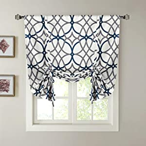 """H.VERSAILTEX Blackout Curtain Thermal Insulated Adjustable Tie Up Shade Balloon Window Shade, Room Darkening Rod Pocket Curtain - 42"""" Wide by 63"""" Long - Grey and Navy Geo Pattern"""