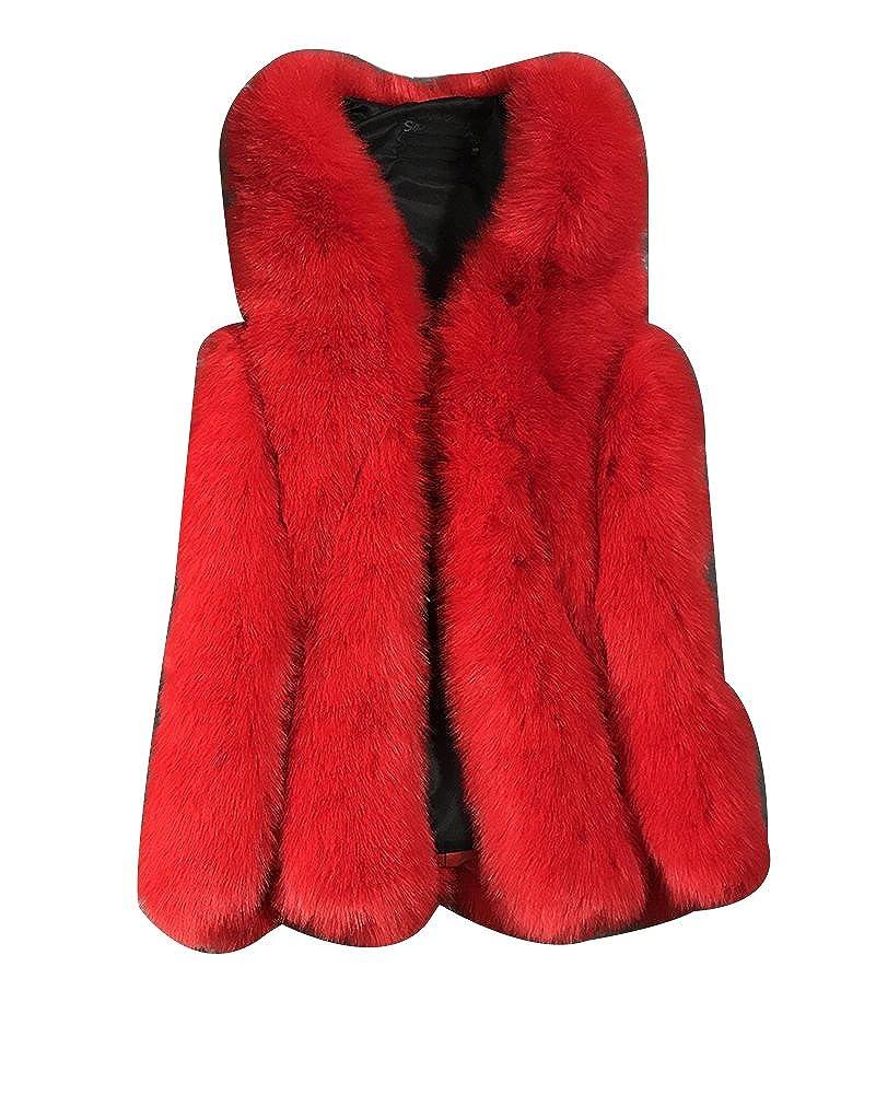 Womens Vest Coat Chic Fox Faux Fur Casual Gilet Sleeveless Jacket Top Outwear Long Waistcoat